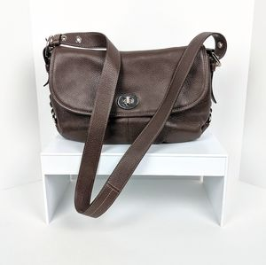 Coach Brown Leather Flap Duffle Crossbody Bag!